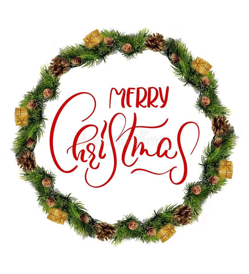 Στεφάνι που απομονώνεται πέρα από το άσπρο υπόβαθρο με τη Χαρούμενα Χριστούγεννα κειμένων Καλλιγραφία και εγγραφή στοκ εικόνα με δικαίωμα ελεύθερης χρήσης