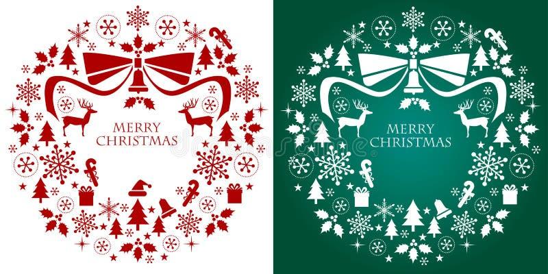 Στεφάνι συλλογής σκιαγραφιών Χριστουγέννων απεικόνιση αποθεμάτων