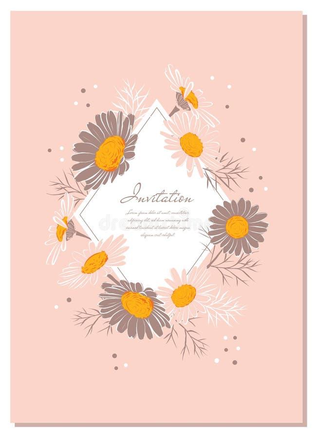 Στεφάνι της Daisy υποβάθρου Chamomile, γαμήλια πρόσκληση λουλουδιών Κομψή floral κάρτα με το διαστημικό A4 μέγεθος κειμένων r διανυσματική απεικόνιση