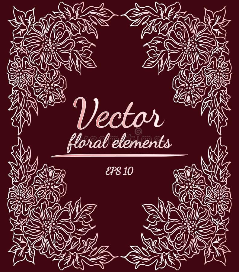 Στεφάνι του κλάδου λουλουδιών peonies στο υπόβαθρο χρώματος κρασιού Floral στοιχεία σχεδίου για τις προσκλήσεις, ευχετήριες κάρτε διανυσματική απεικόνιση