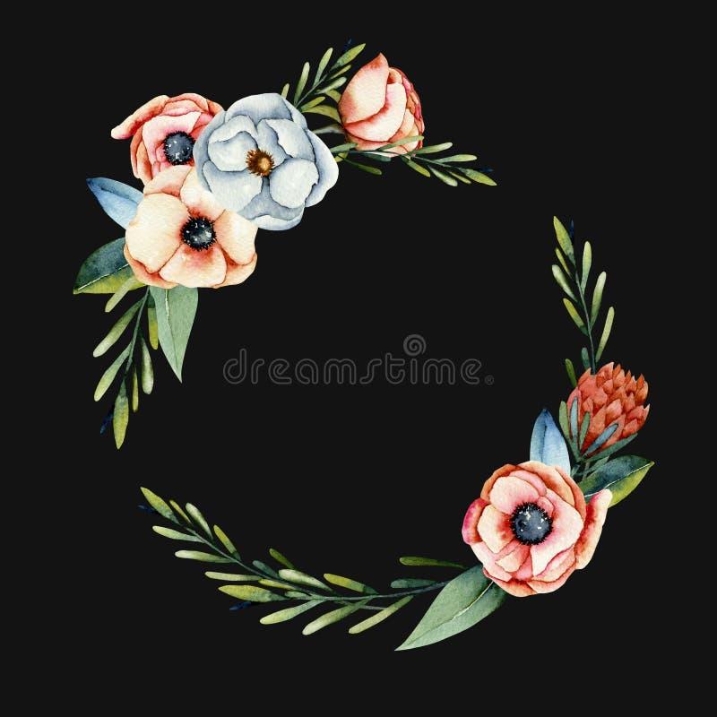 Στεφάνι του κοραλλιού watercolor και των άσπρων λουλουδιών anemone και protea ελεύθερη απεικόνιση δικαιώματος