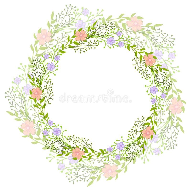 Στεφάνι των άγριων λουλουδιών με τα φύλλα Ένα floral στρογγυλό πλαίσιο με μια θέση για το κείμενό σας Κατάλληλος για τις ευχετήρι απεικόνιση αποθεμάτων