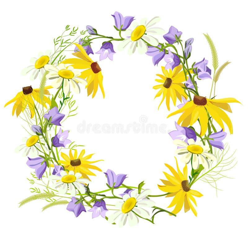 Στεφάνι των θερινών wildflowers που απομονώνονται διανυσματική απεικόνιση