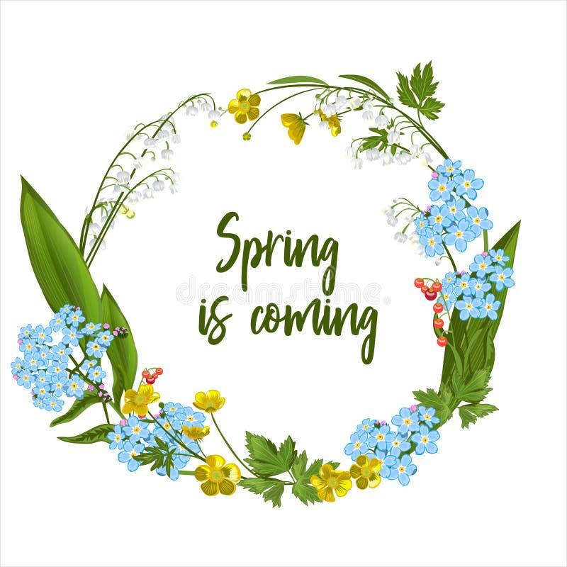 Στεφάνι των λουλουδιών άνοιξη - αφίσα, πρόσκληση ή έμβλημα διανυσματική απεικόνιση