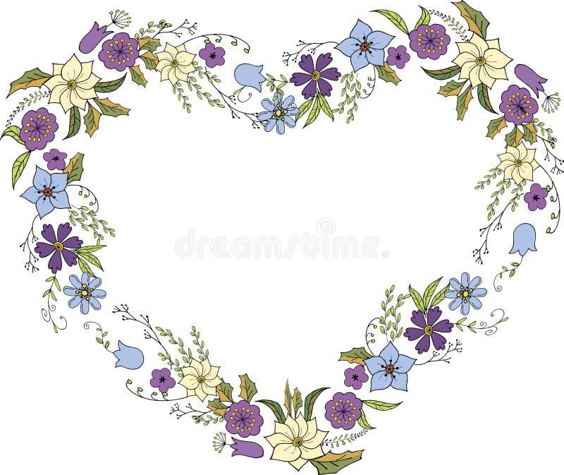 Στεφάνι των λουλουδιών στο ύφος Doodle υπό μορφή καρδιάς Πλαίσιο λουλουδιών στο διάνυσμα στο άσπρο υπόβαθρο ελεύθερη απεικόνιση δικαιώματος