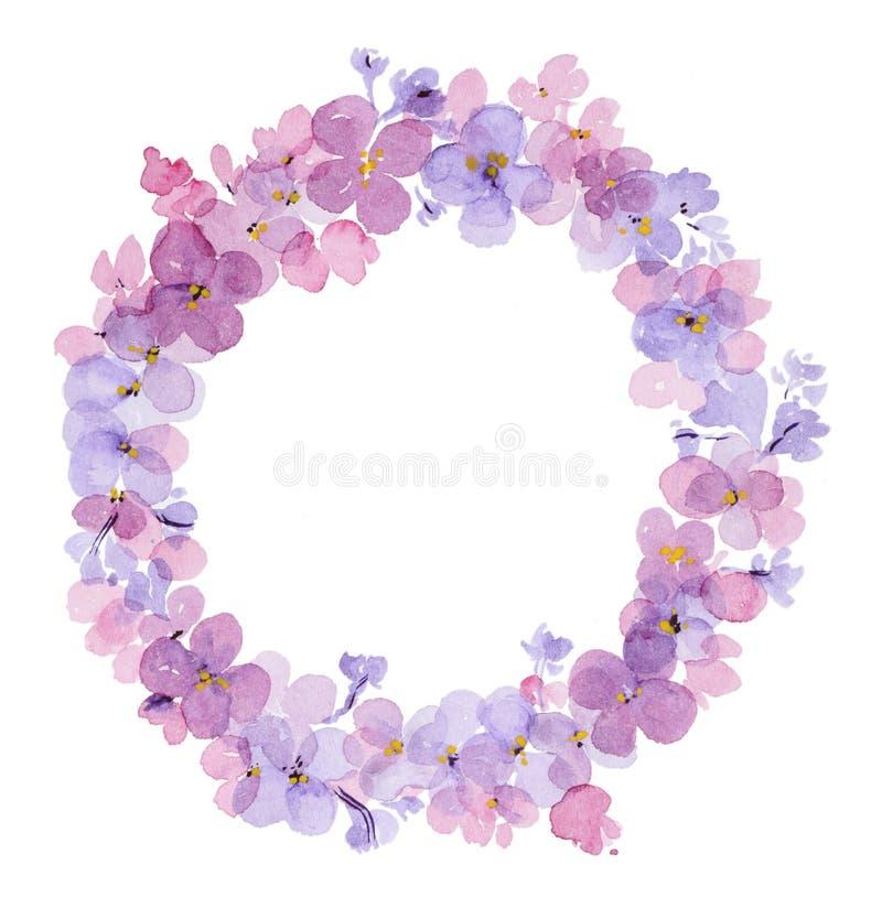 Στεφάνι των λουλουδιών watercolor της πασχαλιάς ελεύθερη απεικόνιση δικαιώματος