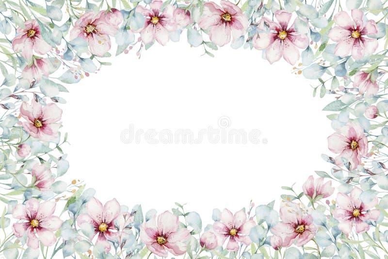Στεφάνι των ρόδινων λουλουδιών κερασιών ανθών στο ύφος watercolor με το άσπρο υπόβαθρο Σύνολο ιαπωνικού sakura θερινής άνθισης διανυσματική απεικόνιση