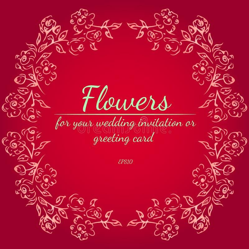 Στεφάνι των τριαντάφυλλων ή peonies των λουλουδιών Floral στοιχεία σχεδίου πλαισίων για τη γαμήλιες πρόσκληση και τη ευχετήρια κά διανυσματική απεικόνιση
