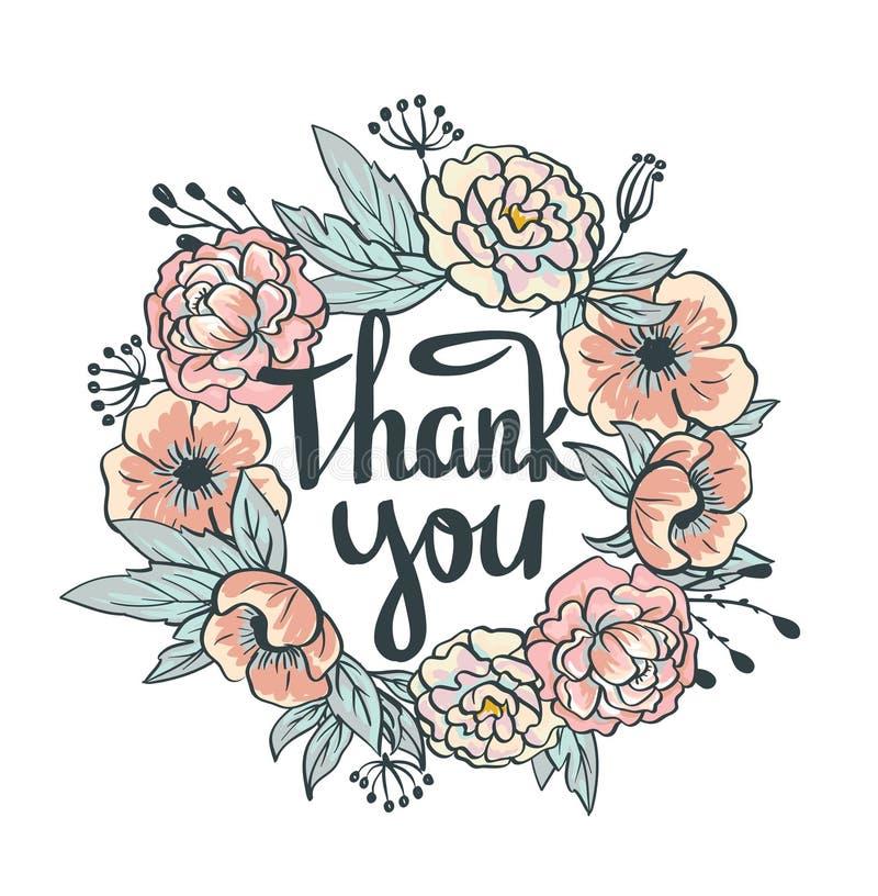 Στεφάνι των τριαντάφυλλων, peonies διάνυσμα Συρμένο χέρι έργο τέχνης η κάρτα σας ευχαριστεί απεικόνιση αποθεμάτων