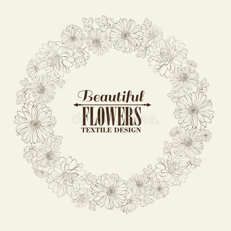 Στεφάνι των όμορφων chrystant λουλουδιών. ελεύθερη απεικόνιση δικαιώματος