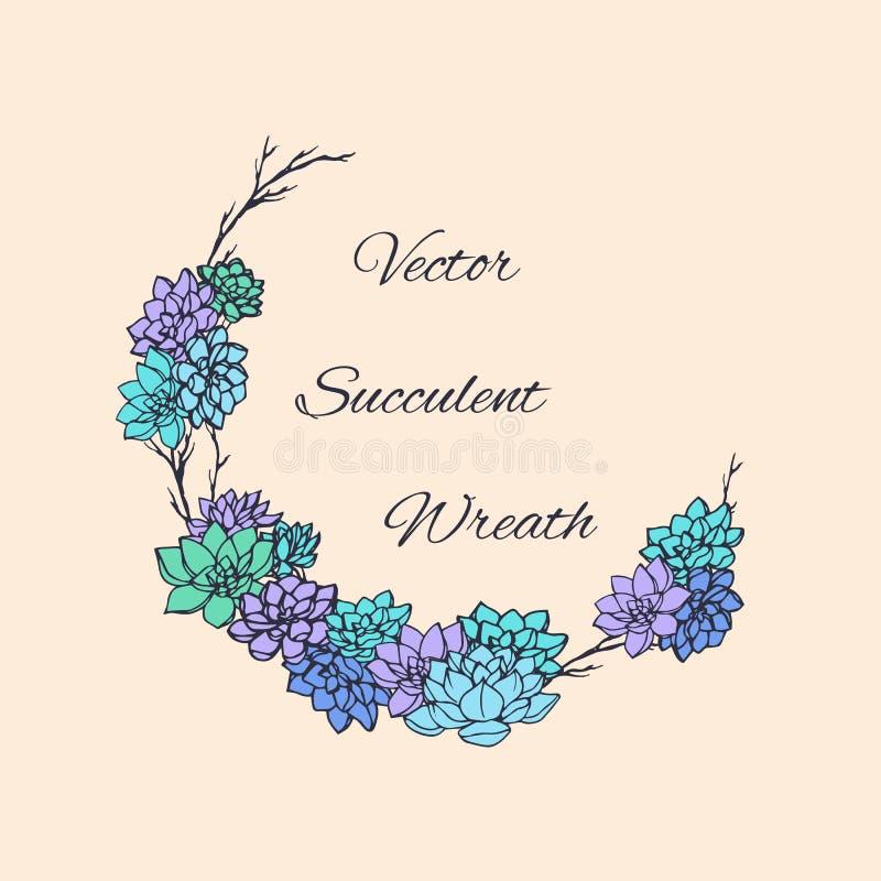 Στεφάνι των succulents και των κλάδων δέντρων Για τις γαμήλιες προσκλήσεις, εκτός από τα σχέδια, τις κάρτες και περισσότερους ημε διανυσματική απεικόνιση