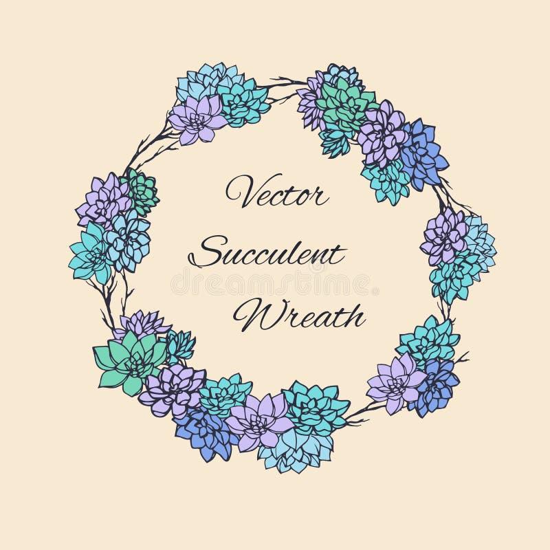 Στεφάνι των succulents και των κλάδων δέντρων Χρησιμοποιήσιμος για τις γαμήλιες προσκλήσεις, εκτός από τα σχέδια ημερομηνίας, τις απεικόνιση αποθεμάτων