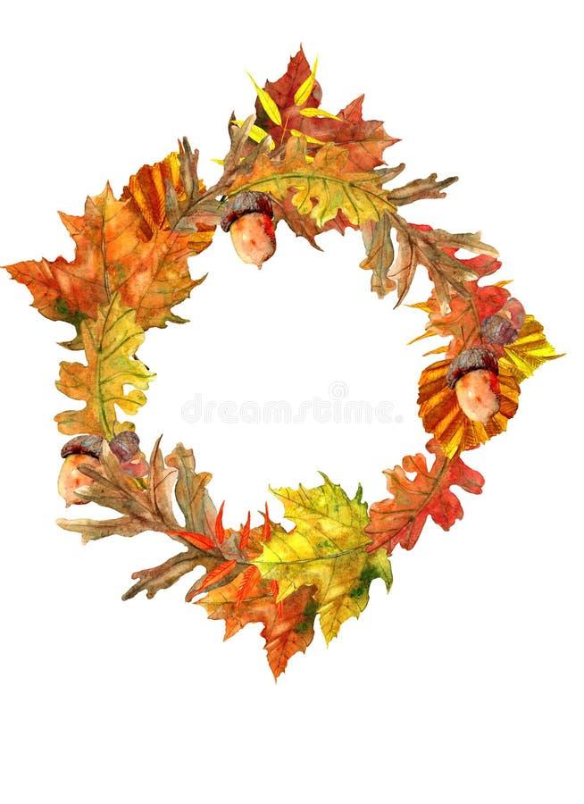 στεφάνι φθινοπώρου με τα όμορφα φύλλα απεικόνιση αποθεμάτων