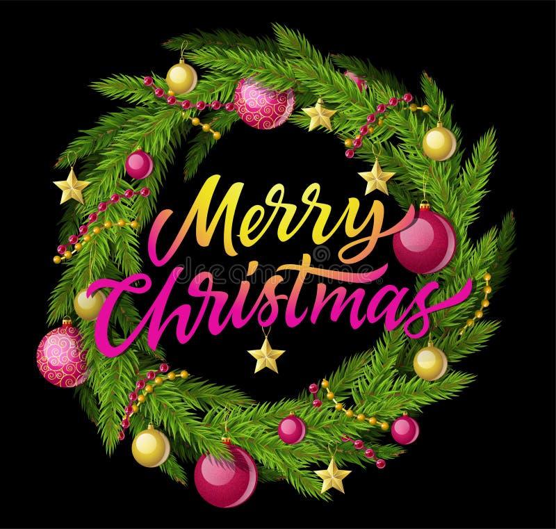 Στεφάνι Χαρούμενα Χριστούγεννας - σύγχρονη διανυσματική ρεαλιστική απεικόνιση με το κείμενο καλλιγραφίας απεικόνιση αποθεμάτων