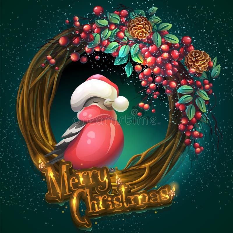 Στεφάνι Χαρούμενα Χριστούγεννας του μούρου τέφρας αμπέλων και bullfinch διανυσματική απεικόνιση