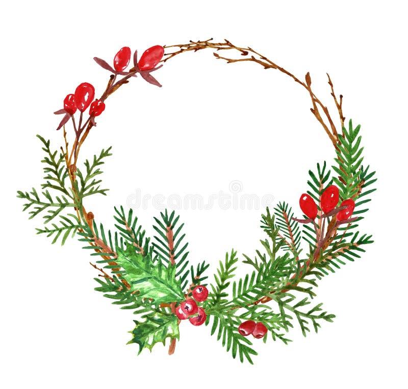 Στεφάνι χειμερινών Χριστουγέννων με τους μίσχους πεύκων και έλατου, κόκκινα μούρα Ντεκόρ διακοπών, που απομονώνεται στο άσπρο υπό ελεύθερη απεικόνιση δικαιώματος