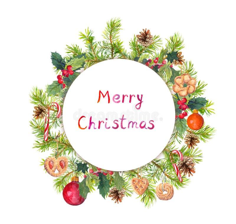Στεφάνι Χριστουγέννων - δέντρο έλατου, γκι, μπισκότα πλαίσιο γύρω από το watercolor στοκ εικόνες