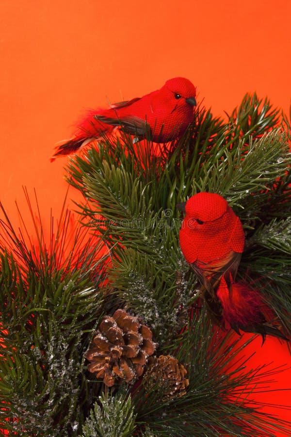 Στεφάνι Χριστουγέννων λεπτομέρειας με τα κόκκινα πουλιά στοκ εικόνες με δικαίωμα ελεύθερης χρήσης