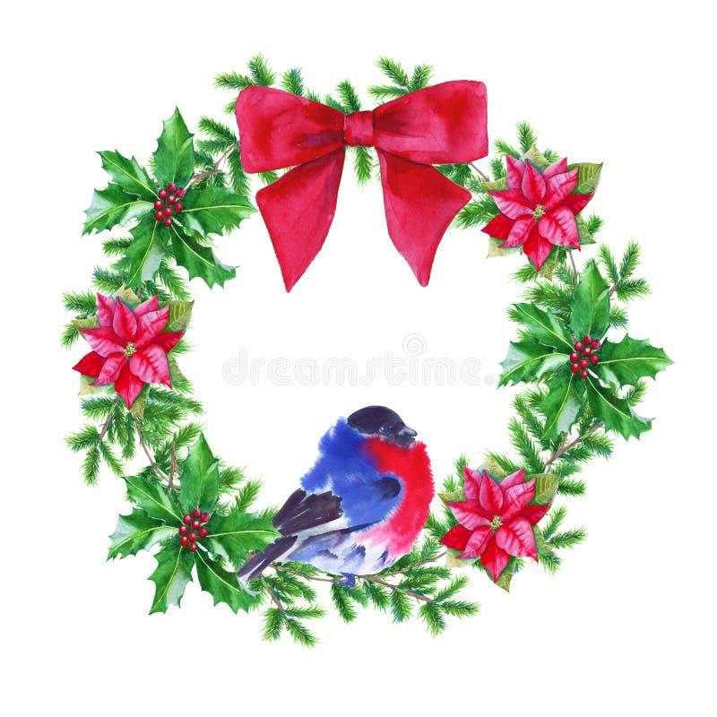 Στεφάνι Χριστουγέννων η ανασκόπηση απομόνωσε το λευκό η διακοσμητική εικόνα απεικόνισης πετάγματος ραμφών το κομμάτι εγγράφου της απεικόνιση αποθεμάτων