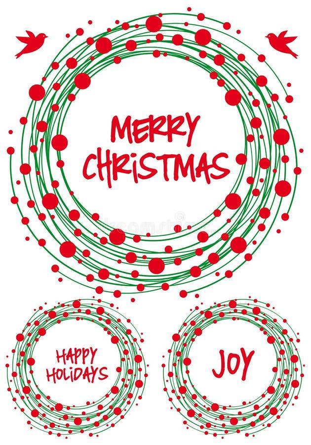 Στεφάνι Χριστουγέννων, διανυσματικό σύνολο απεικόνιση αποθεμάτων