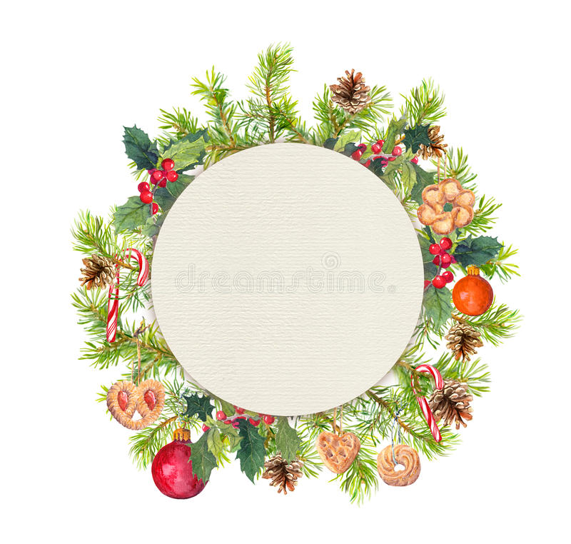 Στεφάνι Χριστουγέννων - κομψοί κλάδοι, γκι, μπισκότα, candycane Κύκλος Watercolor στοκ φωτογραφία