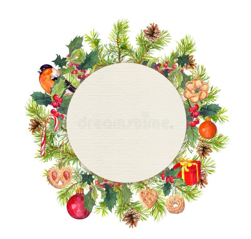 Στεφάνι Χριστουγέννων - κλάδοι πεύκων, πουλί, γκι, παρόν κιβώτιο watercolor στοκ φωτογραφία