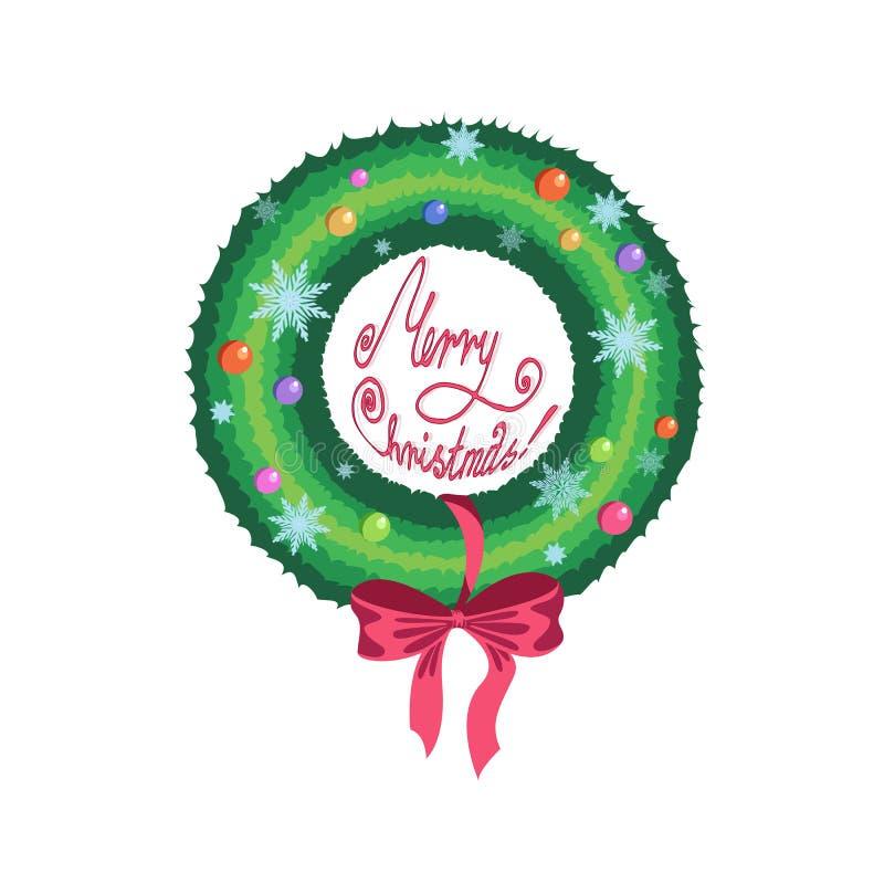 Στεφάνι Χριστουγέννων με τα χρωματισμένες μπαλόνια και τις διακοσμήσεις διανυσματική απεικόνιση