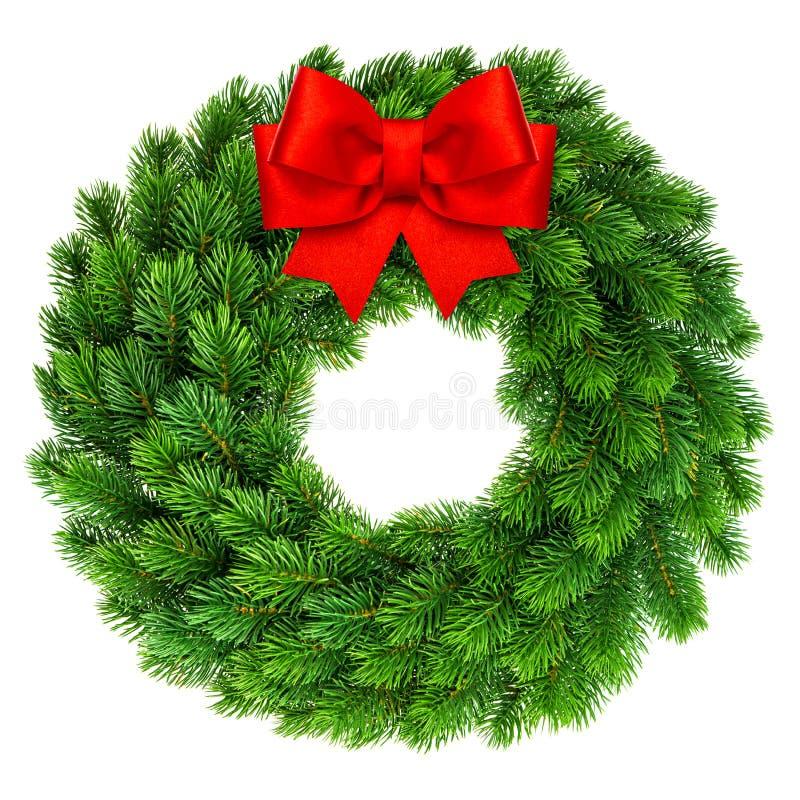 Στεφάνι Χριστουγέννων με την κόκκινη διακόσμηση τόξων κορδελλών στοκ φωτογραφία