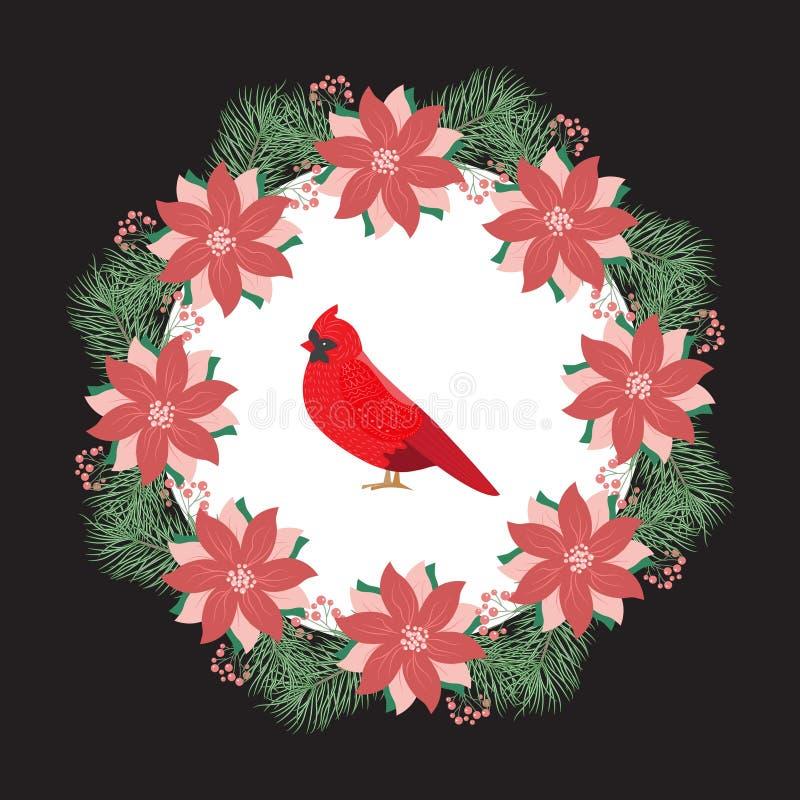 Στεφάνι Χριστουγέννων με το στεφάνι δέντρων έλατου με τα μούρα και τα λουλούδια, ελεύθερη απεικόνιση δικαιώματος
