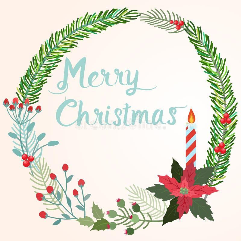 Στεφάνι Χριστουγέννων με το διανυσματικό σχέδιο κεριών ελεύθερη απεικόνιση δικαιώματος