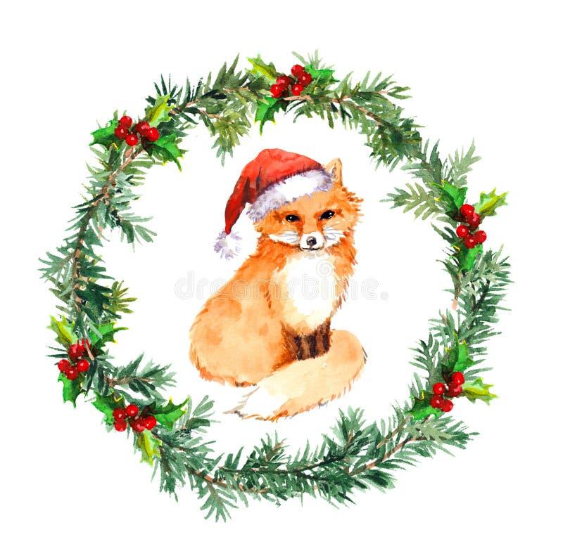 Στεφάνι Χριστουγέννων με το ζώο αλεπούδων στο κόκκινο καπέλο santa watercolor ελεύθερη απεικόνιση δικαιώματος