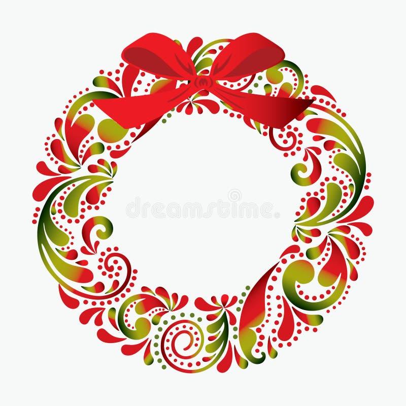 Στεφάνι Χριστουγέννων που γίνεται από ένα σχέδιο λουλουδιών print Απομονωμένος obj απεικόνιση αποθεμάτων