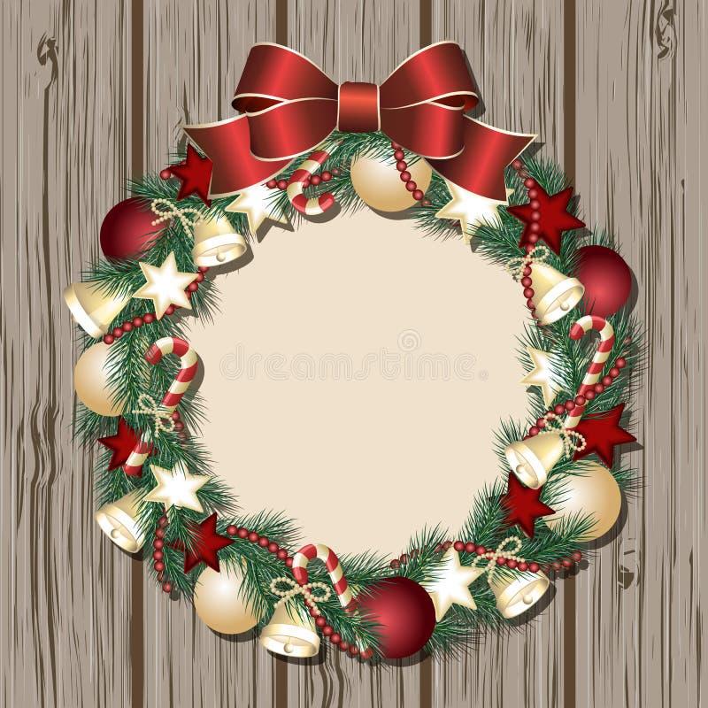 Στεφάνι Χριστουγέννων στην ξύλινη πόρτα απεικόνιση αποθεμάτων