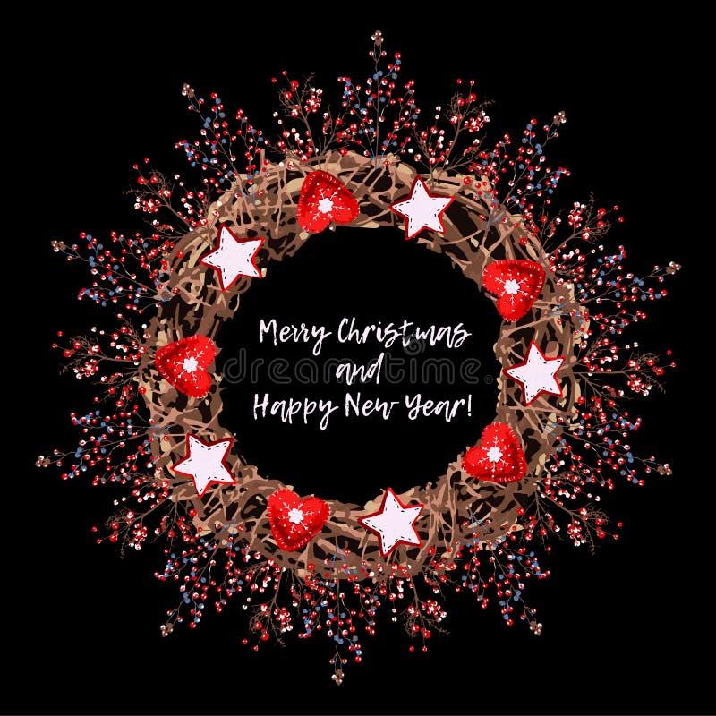 Στεφάνι Χριστουγέννων των κλαδίσκων σε ένα μαύρο υπόβαθρο διανυσματική απεικόνιση