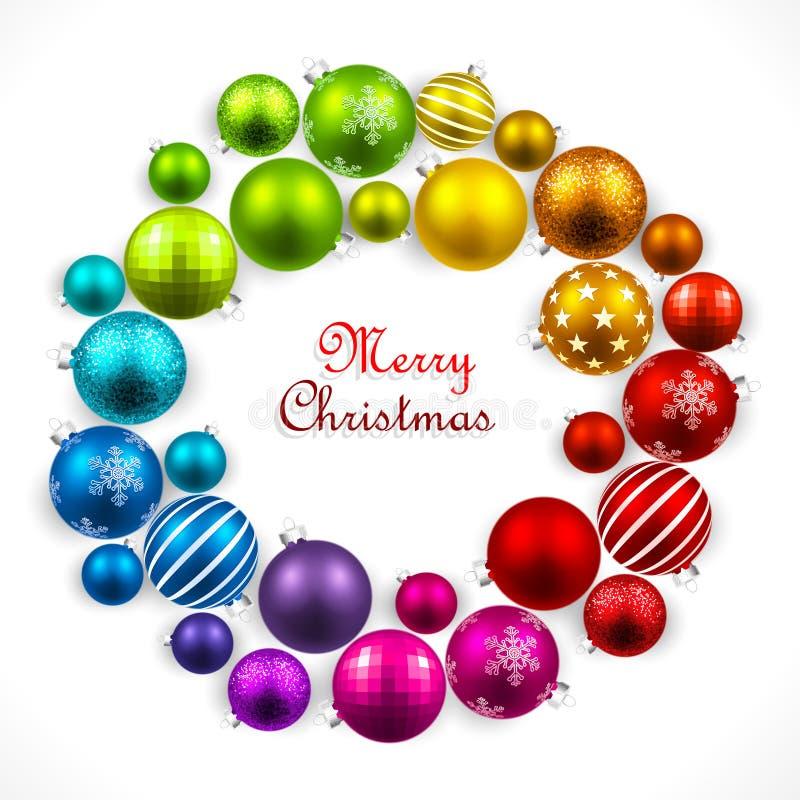Στεφάνι Χριστουγέννων των χρωματισμένων σφαιρών απεικόνιση αποθεμάτων