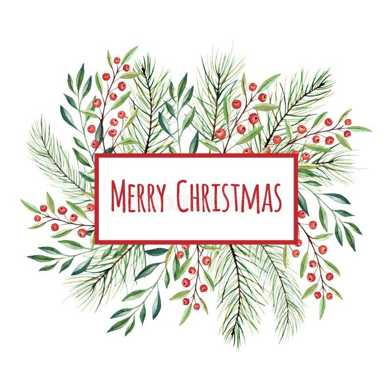 Στεφάνι Χριστουγέννων Watercolor απεικόνιση αποθεμάτων