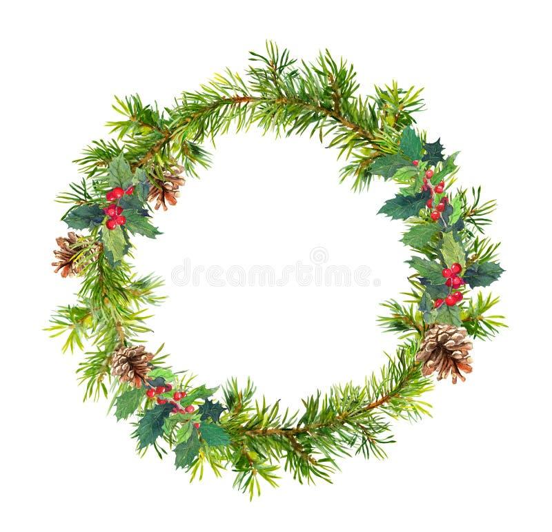 Στεφάνι χριστουγεννιάτικων δέντρων - κομψοί κλάδοι, κώνοι, γκι watercolor στοκ εικόνες