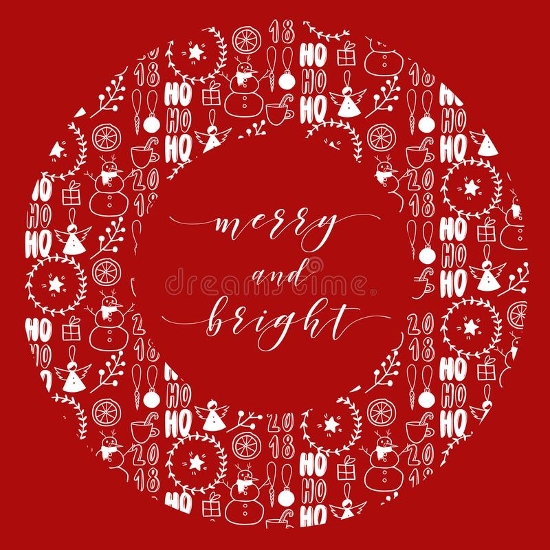 Στεφάνι Cristmas με το σχέδιο doodle Διανυσματική συρμένη χέρι απεικόνιση Απλή τέχνη Χριστουγέννων Σκανδιναβική νέα ευχετήρια κάρ διανυσματική απεικόνιση