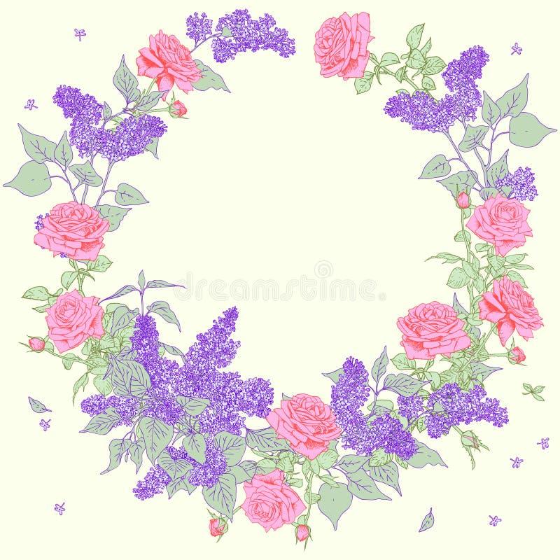 στεφάνι floral σειρά πλαισίων πλαισίων απεικόνιση αποθεμάτων