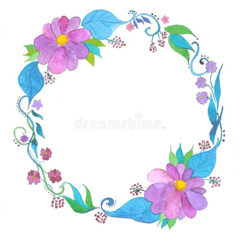Στεφάνι watercolor λουλουδιών, χέρι που σύρεται στοκ φωτογραφία με δικαίωμα ελεύθερης χρήσης
