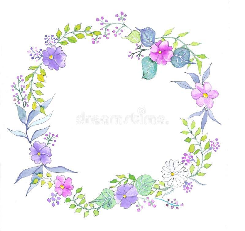 Στεφάνι watercolor λουλουδιών στοκ εικόνες