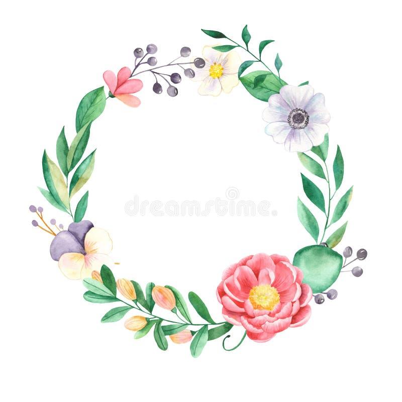 Στεφάνι Watercolor των λουλουδιών των peonies, φύλλα, pansies, anemones απεικόνιση αποθεμάτων