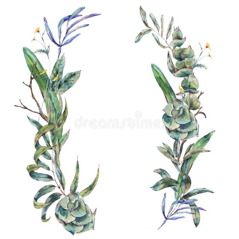 Στεφάνι Watercolor των πράσινων τροπικών φύλλων και succulents διανυσματική απεικόνιση