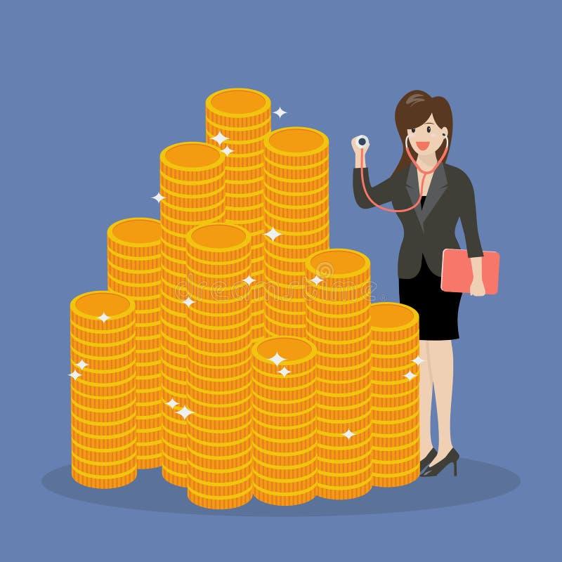 Στηθοσκόπιο εκμετάλλευσης επιχειρησιακών γυναικών για την οικονομική εξέταση διανυσματική απεικόνιση