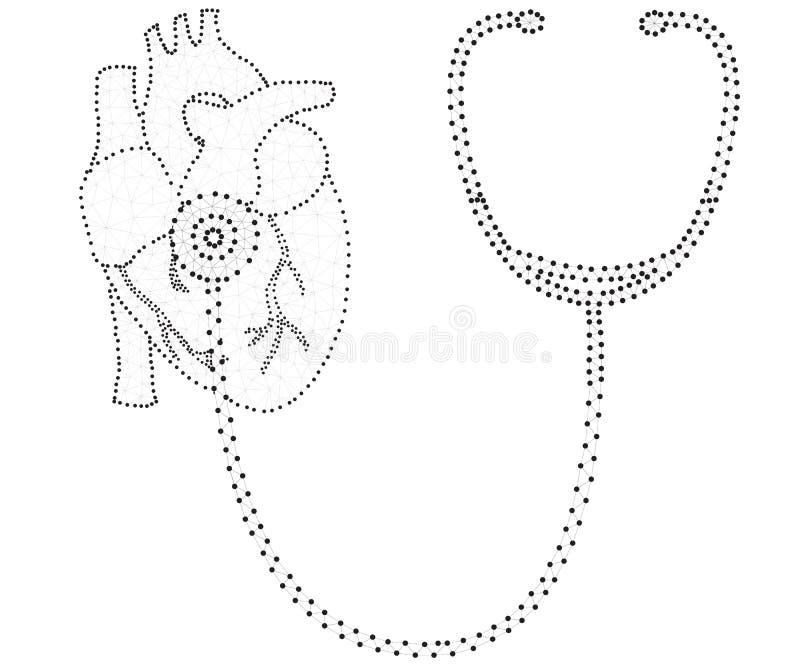 Στηθοσκόπιο, καρδιά, πολύγωνο, μαύρος-λευκό ελεύθερη απεικόνιση δικαιώματος