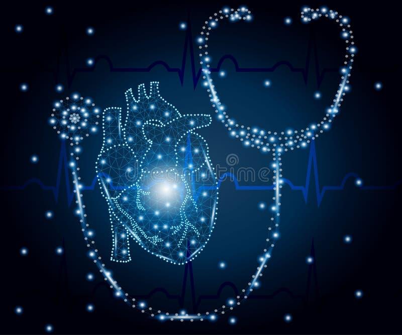 Στηθοσκόπιο, καρδιά, πολύγωνο, μπλε ECG 1 απεικόνιση αποθεμάτων