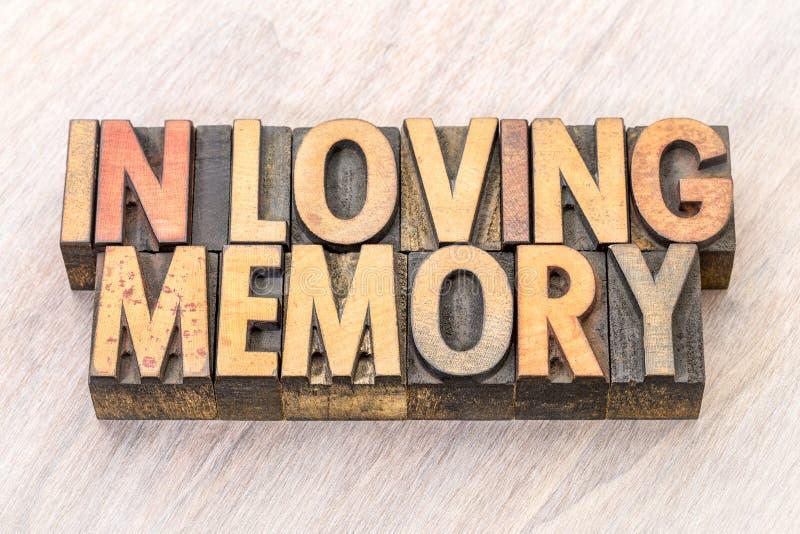 Στην αγάπη της περίληψης λέξης μνήμης στον ξύλινο τύπο στοκ φωτογραφία με δικαίωμα ελεύθερης χρήσης