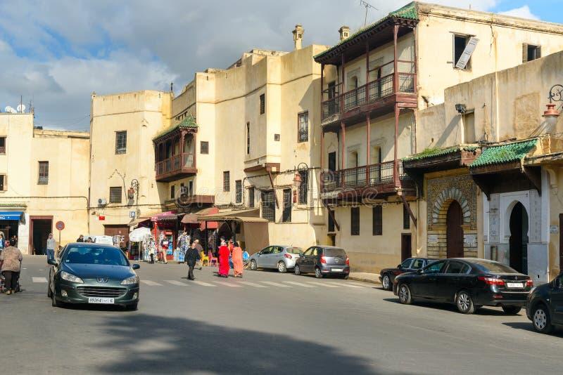 Στην οδό στο medina Fes EL Μπαλί Fes Μαρόκο στοκ φωτογραφία με δικαίωμα ελεύθερης χρήσης