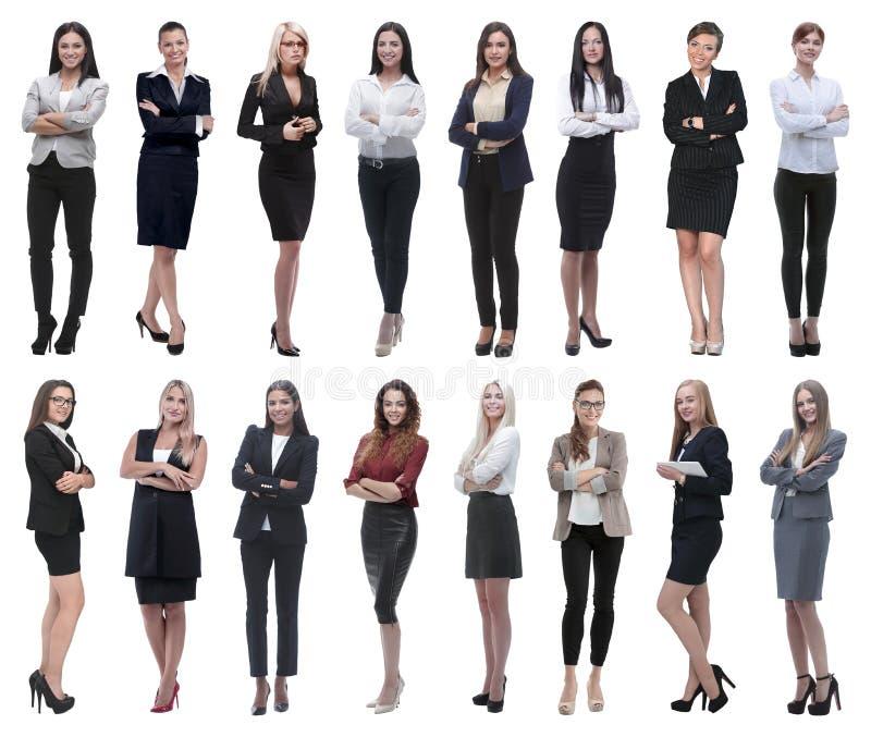 Στην πλήρη αύξηση κολάζ μιας ομάδας επιτυχών νέων επιχειρησιακών γυναικών στοκ φωτογραφίες