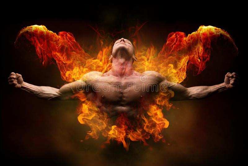 Στην πυρκαγιά bodybuilder στοκ φωτογραφίες με δικαίωμα ελεύθερης χρήσης